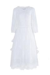 煙花燙SD2018春夏新款女裝氣質網紗繡花中長款蕾絲連衣裙 瑤草(白色 XL)