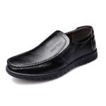 米斯康男鞋新款男士商務休閑皮鞋英倫套腳圓頭牛皮鞋子爸爸鞋8801(黑色 42)